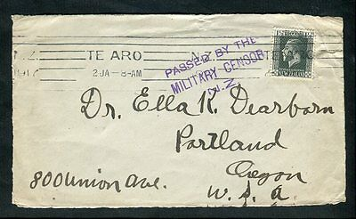 New Zealand 1917 Te Aro Machine Cancel on WW1 Cover Front to USA Military Censor
