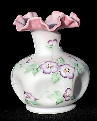 """Fenton Burmese 8"""" Pinch Vase - Hand Painted & Signed Pink Floral Ruffled"""