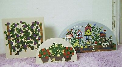 Lot of 3 Cat's Meow Wooden Pcs FLOWER GARDEN GRAPE VINE   / Train Display New