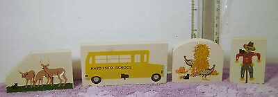 Lot of 4 Cat's Meow Wooden Pcs SCHOOL BUS DEER SCARECROW   / Train Display New