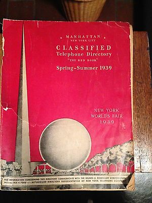 1939 Manhattan  yellow pages WORLDS FAIR cover