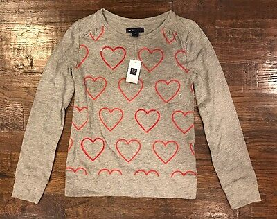 NWT Gap Kids Girl's Sequined Hearts Top Shirt Medium M 8 years yrs - New