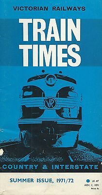 Victorian Country Timetable Nov 1971