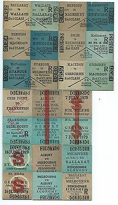 12 Different Victorian Country Return Tickets Inc Wallace, Buangor & St Kilda
