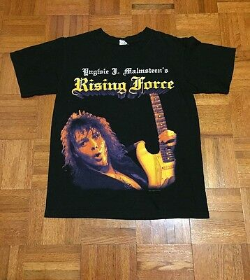 Vintage Style Yngwie Malmsteen Rising Force Adult Small Black T-Shirt