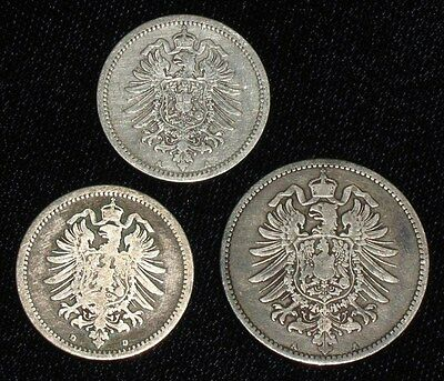 3 Silver Coins from Germany.  1875-1881.   No Reserve!!