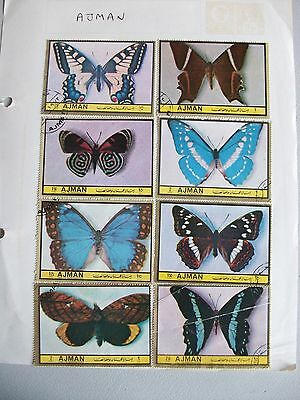 AJMAN Set of 8 Butterfly stamps LARGE 68x48mms **MOUNTED**