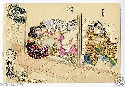 Antique Original Japanese SHUNGA Completely Hand Drawn and Colored Print #7