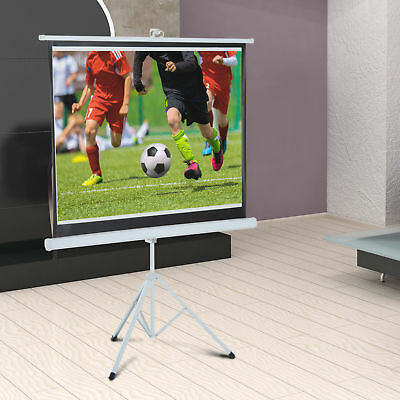 """84"""" Portable Projection Screen 4:3 Home Cinema Foldable Adjustable Tripod Stand"""