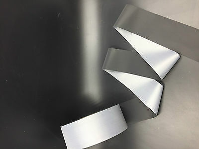 3M 10FT black Reflective Tape Safty Strip Sew 5cm 2'' Trim Gray Synth Fabric