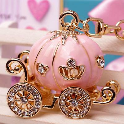 Cute Women Girls Big Princess Pumpkin Carriage Crystal Bags Keychain Key Ring