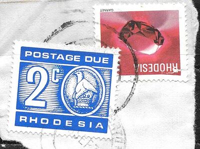Rhodesia 1970 Postage Due (Revenue) 2¢ On Piece Used 0039