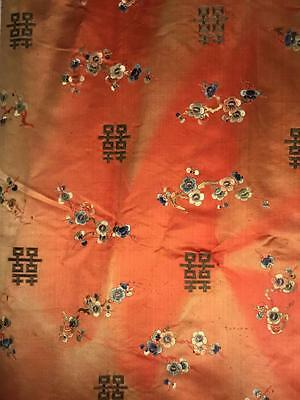 ANTIQUE 19th QI'ING CHINESE SILK EMBROIDERED PANEL FLOWERS EMBROIDERY 256 x 66cm