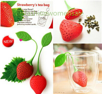 Silicone Strawberry Tea Leaf Strainer Herbal Spice Infuser Filter Diffuser LooPN