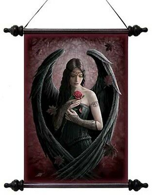 "Anne Stokes Scroll ""angel Rose"" Gothic Angel With Wings & Rose"