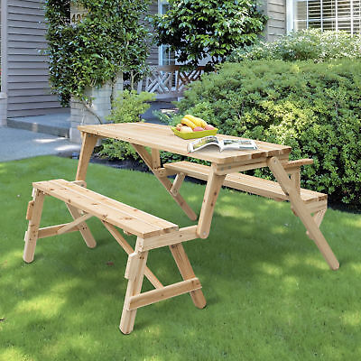 Outsunny Interchangeable Picnic Table Garden Bench Fir Wood Outdoor Foldable