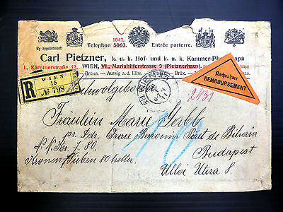AUSTRIA Registered Cover to Hungary 1911 with Stamps on SEE BELOW YZ33