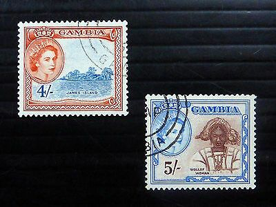 GAMBIA 1953 - 4/- & 5/- SG182/3 Fine/Used XZ164