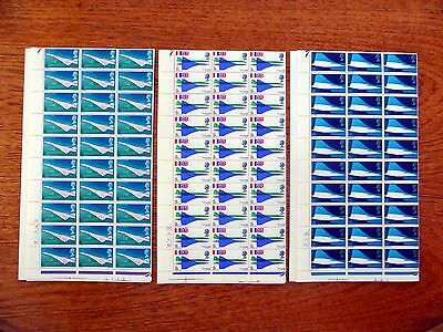 GB 1969 Concorde (3) in Complete Sheets of 120 Folded XZ132