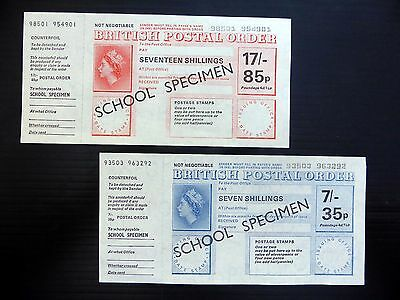 "GB POSTAL ORDERS Dual Currency 7/- & 17/- ""School Specimen"" Mint Condition YZ914"