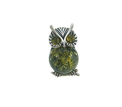 Sterling Silver 925 Green Baltic Amber Owl Brooch