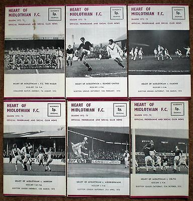 HEARTS FC 1972 1973 HOME FOOTBALL PROGRAMMES COLLECTION Heart of Midlothian Rare