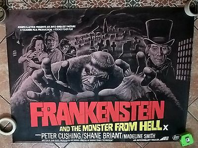 Frankenstein And The Monster From Hell. 1974-Uk Quad Hammer  Poster  .very Rare