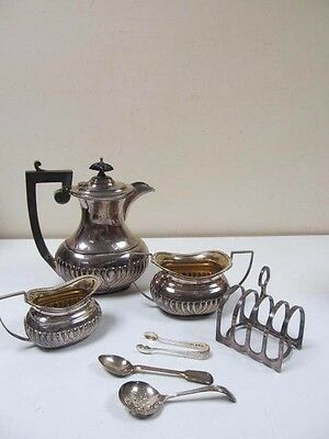 Vintage Sterling Silver Teapot And Accessories Set Lot