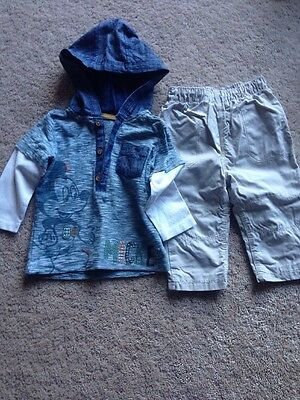 Boys Disney Mickey Outfit Hoodie Top And Trousers Age 6 To 9 Months