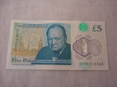 Aa46 Low Serial Number  £5 Polymer Five Pound Note (Fr)