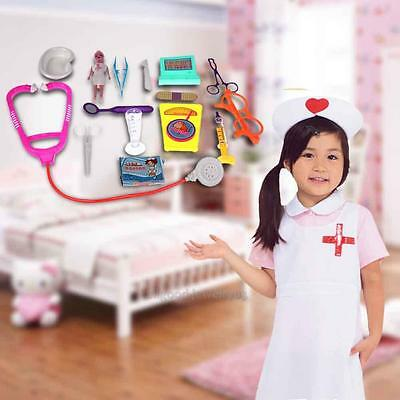 15Pcs Childrens A-Z Kids Doctor Play Set Fancy Dress Play Nurse Medical Gift
