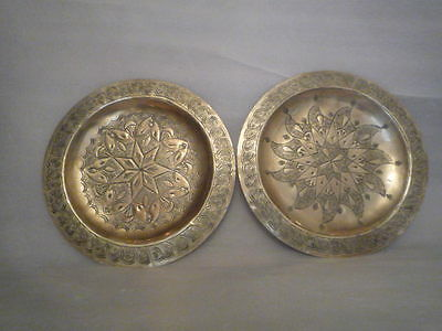 A Vintage Pair of Brass Wall Plaques.  High Decoration. 8 inches