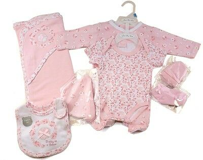 Baby Girls 7 Piece Flowers Layette Clothing Gift Set Outfit by Just Too Cute