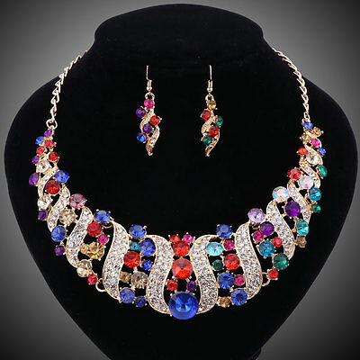 Women Gold/Plated Rhinestone Crystal Necklace Earring Wedding Party Jewelry Sets