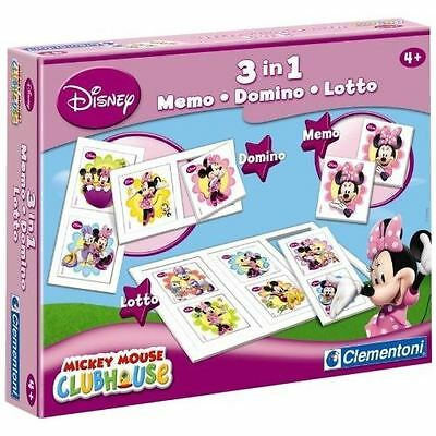 DISNEY Clementoni  Kit 3 in 1 Memo, Domino & Loto MINNIE jeu éducatif NEUF