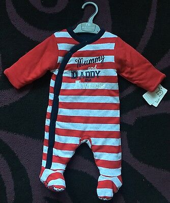 Mothercare Baby Boys Padded Sleep suit • Size: Up To 1 Month - 10lbs • New