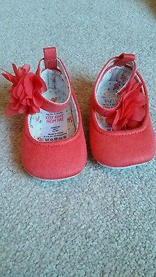 baby girl shoes coral salmon pink red flower summer winter upto 3 months small