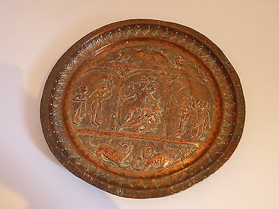 Antique Good Quality Indian Hindu Gods Copper Hand Made Circular Tray