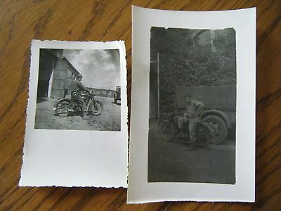 2 Motorcycle Soldier Photographs - Original WW2 images
