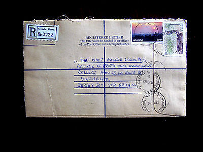 UGANDA REGISTERED COVER 1996/DEC. with 1x2000/- and 1x500/- stamp Total 2500/-.