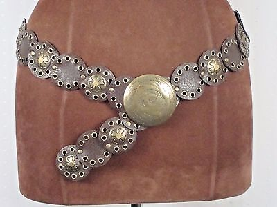 New York & Co. Brown/Gold Concho Adjustable Faux Leather Belt Size Medium