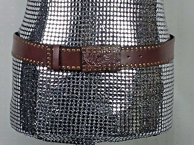 NWT Brown/Gold 100% Leather Adjustable w/ BEAUTIFUL Belt Buckle Belt Size Large