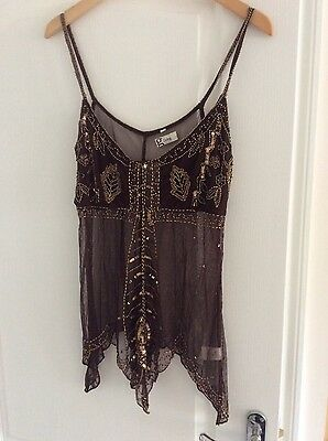 Vintage  string top 100% polyamide brown with gold sequins size 12/40 Eu BN