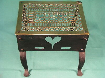 Antique 19th Century Wrought Iron & Pierced Brass Top Kettle Stand Trivet Heart