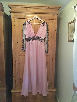 Pink Maxi dress chiffon style sleeves with black lace vintage style12