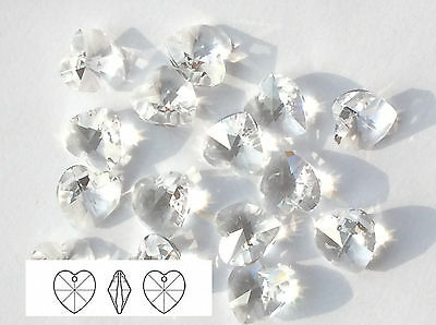 24 SWAROVSKI ELEMENTS 6228 Clear Crystal Xilion Heart 14mm Pendants