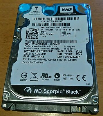 "Disque dur Western Digital Scorpio Black 320Gb 2,5"" Portable 7200trs WD3200BEKT"