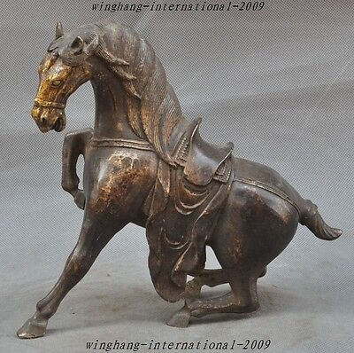 "10"" Old Chinese Feng shui Bronze Zodiac Animal Horses Success Lucky Horse Statue"