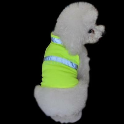 Pet Dog Safety Fluorescent Strips Vest Jacket Harness Apparel Yellow Size S - L