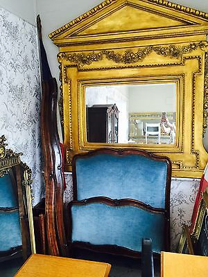 Stunning Antique Original French Single Bed Upholstered In Blue With Dark Wood